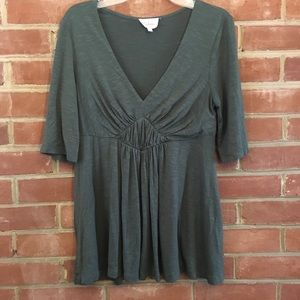 Anthropologie Deletta Green Top Size Small